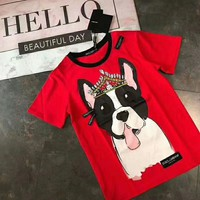 """Dolce & Gabbana""Couple Unisex Fashion Casual Short-Sleeved Crown dog personality trend comfortable Printed Round Neck Short Sleeve Top"