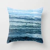 wave - blue Throw Pillow by James White
