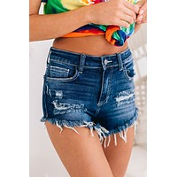 Compared To You Distressed High Rise Shorts (Dark Blue)