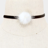 "11"" 2"" pom pom fur choker velvet collar necklace"