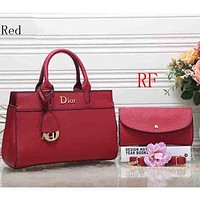 Dior 2018 latest women's fashion elegant leather handbag (Two sets) F-RF-PJ Red