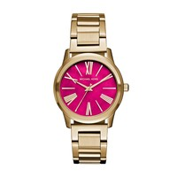 Michael Kors Hartman Yellow Gold-Plated Stainless Steel Ladies Watch with Hot Pink Mother of Pearl Dial