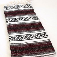 Hand Woven Classic Mexican Yoga Blankets Burgundy