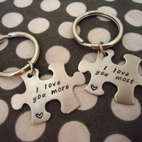 Personalized Puzzle I Love You More/Most Key Chain set - Hand Stamped Stainless Steel