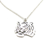 Silver Tiger Necklace, Charm Necklace, Big Cat Charm Jewelry, White Tiger Necklace, Tiger Jewelry, Wildlife Necklace, Tiger Charm Necklace