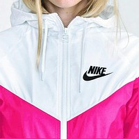 Nike Fashion Hooded Zipper Cardigan Sweatshirt Jacket Coat Windbreaker Sportswear White-pink