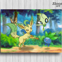 anime poster leafeon pokemon gifts oddish celebi anime decor