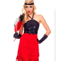 Sexy Flapper 1920's Halloween Costume 3pc Dress Small/Medium Adult Womens