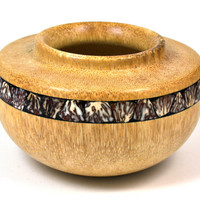 LV-1587 Windmill Palm with Betelnut Inlay Hand Turned Wooden Bowl, Pot, Hollow Form, Vase