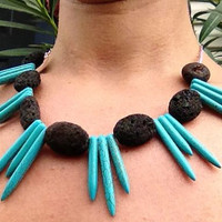 Tribal turquoise spike and lava rock necklace - statement necklace