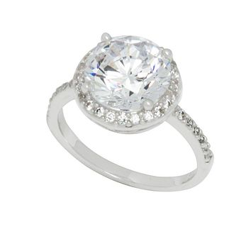 Sterling Silver Cocktail Ring Solitaire Clear CZ 10mm AAA Grade