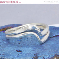 Fall Sale Double Wave Ring - Stacker Ring - Silver Jewelry - Argentium Sterling Silver - Handmade Ring