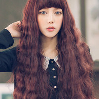Tan Long Curly Wig With Bangs