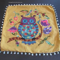 Vintage Pillow Cover, Cushion Cover, Colorful Owl, Crewel Embroidery, Boho, Bohemian Decor