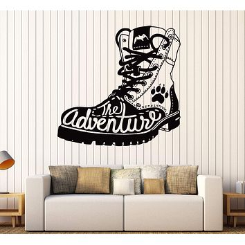Vinyl Wall Decal Adventure Boot Tourist Travel Stickers Mural Unique Gift (ig4311)