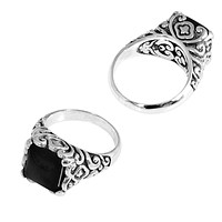 """SR-5441-ONX-7"""" Sterling Silver Ring With Black Onyx"""