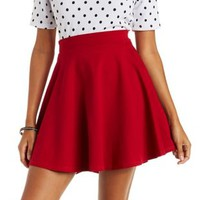 Red Ponte Knit Skater Skirt by Charlotte Russe