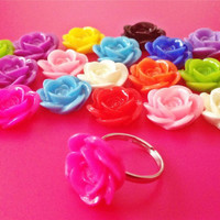Large Rose Flower Adjustable Size Ring - Vintage Chic / Cute / Quirky / Kitsch