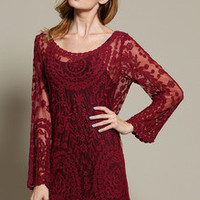 Burgundy  Red Long Sleeve Embroidery Crochet Sheer Shift Dress