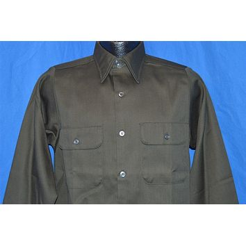70s Olive Green Button Down Deadstock Work Shirt Small