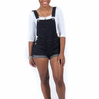 "Black Denim Overall Shorts ""Shortall"""