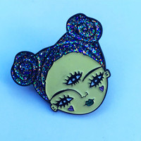 Enamel pin badge alien space grrl girl gang glittery glow in the dark