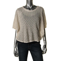Style & Co. Womens Open Stitch Butterfly Sleeves Pullover Top