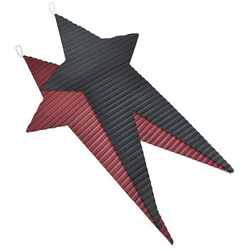 Rustic Corrugated Long Metal Star Wall Decor, Assorted Colors, 28-Inch