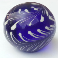 Cobalt Blue and White Swirls Glass Paperweight, Vintage