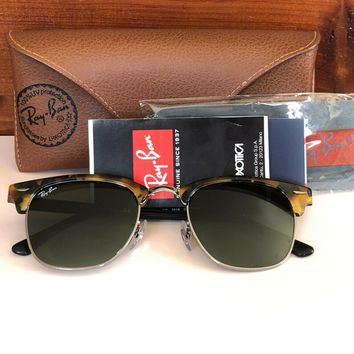 Ray-ban Clubmaster Fleck Sunglasses RB3016 1157 Green Classic G15 Lens 49mm