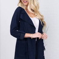 Enamored Chenille Blazer Jacket| Navy