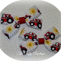 SALE Red Tractor Clippie PIgtail Bow Set, Red & White Bows, Farm Girl Bows, Small Boutique Bows, Baby Toddler Bows, Country Girl Bows
