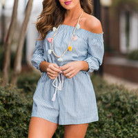 Lake Views Romper, Sky Blue