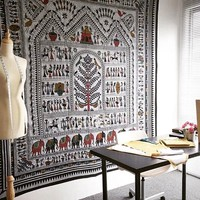 African Tribal Life Monkey Garden Tree Wall Tapestry on RoyalFurnish.com
