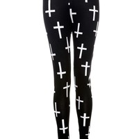 Cross Print Leggings - Womens Clothing Sale, Womens Fashion, Cheap Clothes Online | Miss Rebel