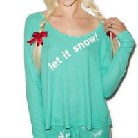 Wildfox Couture Let It Snow Cabin Fever Pajama Set Winter Green