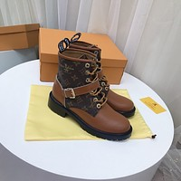 lv louis vuitton trending womens men leather side zip lace up ankle boots shoes high boots 17