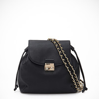 Chain-Strapped Faux Leather Backpack