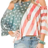 UNDERSTAR STARS AND STRIPES COLD SHOULDER TEE   Swell.com