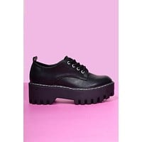 Secret Life Platform Chunky Oxfords - Black