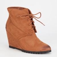 Qupid Tustin Womens Wedge Boots Camel Oil Finish  In Sizes