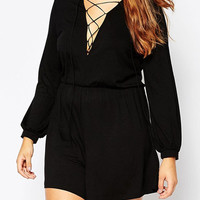 Black Plus Size Lace Up Plunge Long Sleeve Romper Playsuit