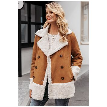 Vintage Suede Patchwork Fur Coat Jackets