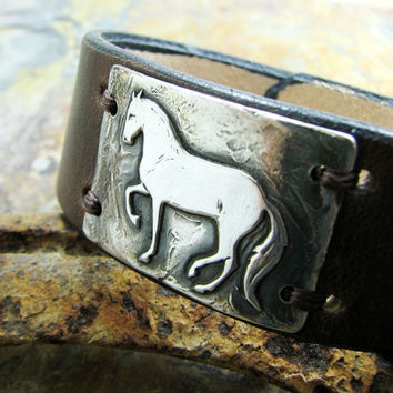 Artisan Horse Jewelry, Handmade Fine Silver Dancing Horse Link with Leather Cuff Bracelet
