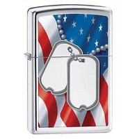 Military Zippo Dog Tags and Flag High Polish Chrome Lighter Great Gift