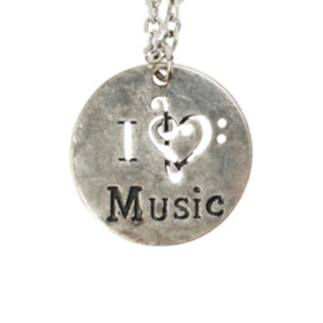 I (Clef Heart) Music Necklace