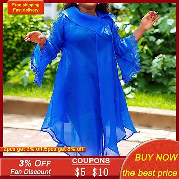 Blue Women Midi Dress Autumn Fall 2020 Asymmetrical Flare Long Sleeve Sheer Sexy Dresses Loose 5xl Plus Size See Through Casual