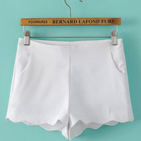 White Scallop Hem Shorts