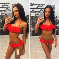 Lace Tassels Sexy Agent provocateau micro Bikini Wave Red White Women bodie lingerie Underwire Bathing Suit Thong biquini renda