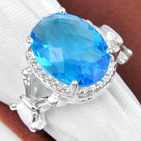 Luckyshine Hot Selling Women&Men Fashion Jewelry Round Classy Sterling Silver Blue Topaz Gemstone Ring